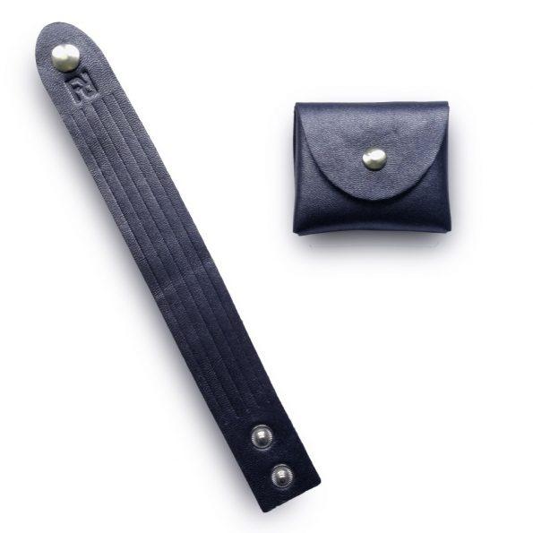 bracelet+bourse bleu métalisé nickel