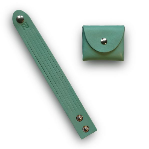 bracelet+bourse vert d'eau nickel