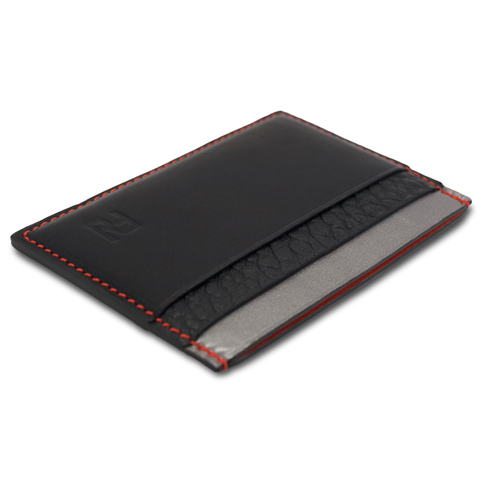 Porte-cartes en acier et cuir noir UYleH