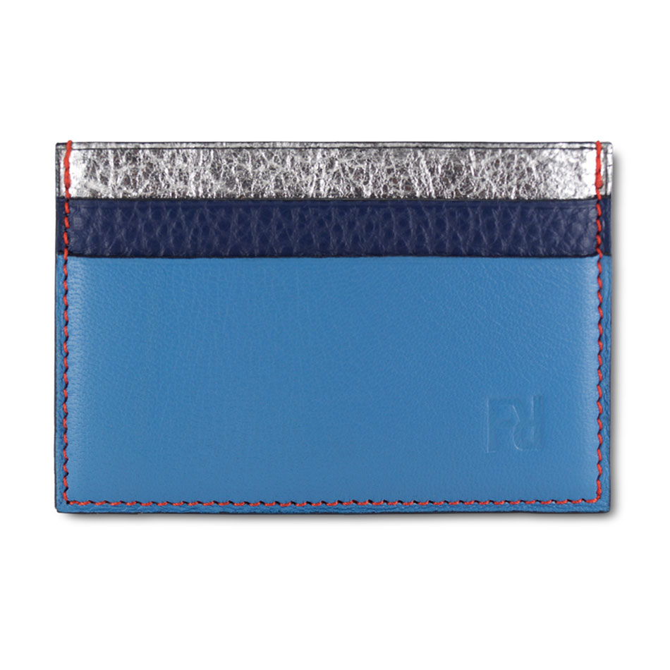 les clients d'abord marque célèbre courir chaussures Porte-cartes Cuir Argent / Marine / Bleu